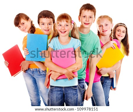 Group of happy teen school child with book.  Isolated. - stock photo
