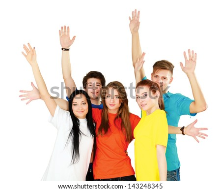 Group of happy teenagers. Smiling and looking at camera. Hands arms up. - stock photo