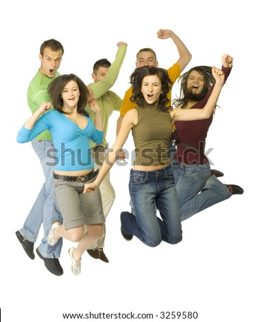 Group of 6 happy teenagers. They're jumping with hands up and shouting. White background. Whole bodies visible. - stock photo