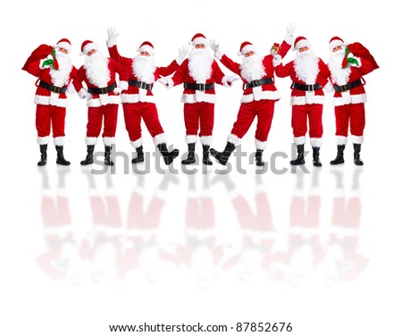 Group of happy traditional Santa Claus. Christmas. Isolated on white background. - stock photo