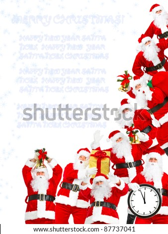 Group of happy traditional Santa Claus. Christmas party. Isolated on white background. - stock photo