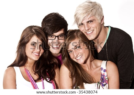 group of happy young adults - stock photo
