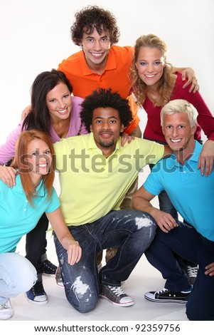 Group of happy young friends - stock photo