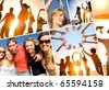 group of happy young people dancing at the beach on  beautiful summer sunset. collage - stock photo