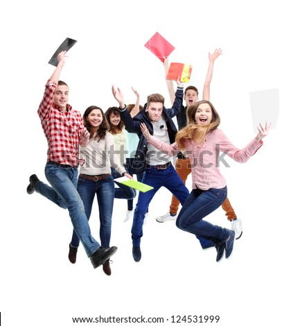 Group of happy young people jumping - isolated over a white background - stock photo