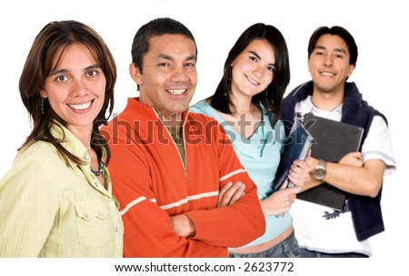 group of happy young people over a white background - stock photo