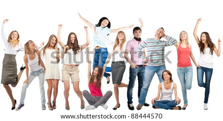 Group of happy young women and men in motion, dancing and laughing. Isolated on white background - stock photo