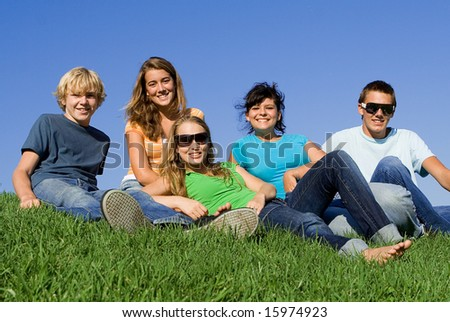 group of happy youth - stock photo