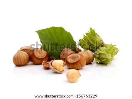 Group of hazelnut over white background  - stock photo