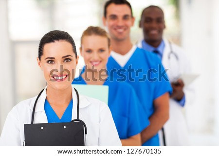 group of health care workers line up - stock photo
