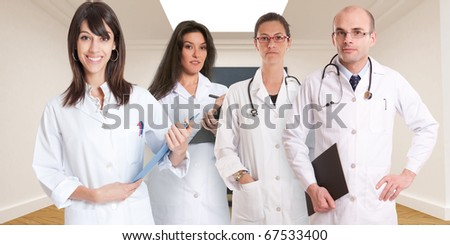 Group of healthcare professionals in a classroom - stock photo