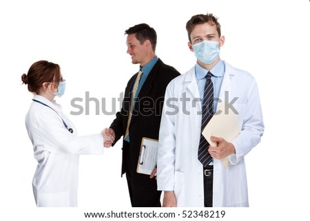 Group of healthcare professionals, isolated studio image