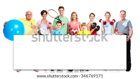 Group of healthy fitness people isolated over white background. - stock photo