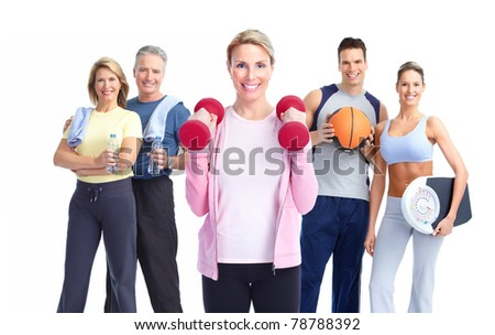 Group of healthy fitness people. Over white background - stock photo