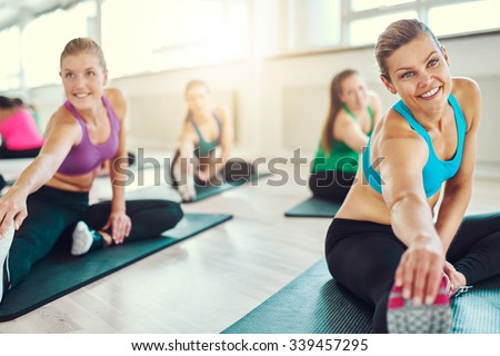 Group of healthy women in a fitness class, fitness, sport, training, aerobics concept - stock photo