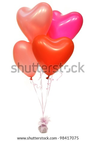 Group of  heart balloons isolated on white background - stock photo