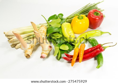 Group of herb ingredients for cooking thai food