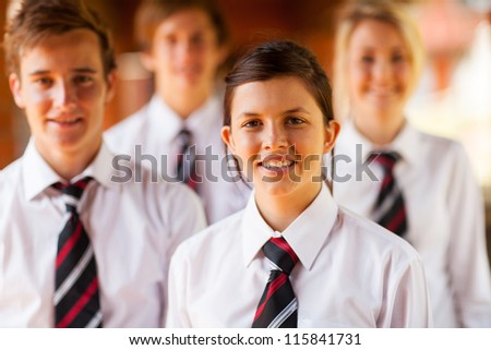 group of high school girls and boys portrait - stock photo