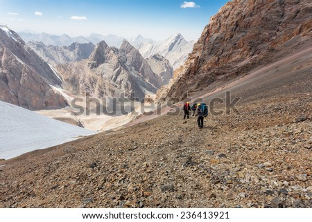 Group of hikers in Fann mountains, central asia, Tajikistan.