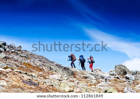 Group of hikers in the mountain - stock photo