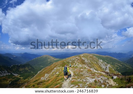 Group of hikers in the mountain,Carpathian ,Ukraine - stock photo