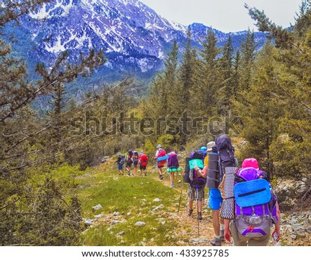 Group of hikers in the mountains, view of Tahtali  mountain
