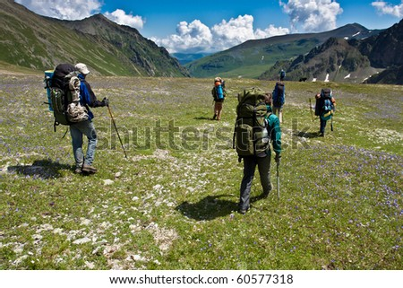 Group of hikers walking on a green grass, in Caucasus mountains.