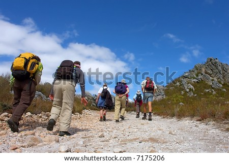 Group of hikers walks on mountain road. Shot in Hottentots-Holland Mountains nature reserve, near Grabouw, Western Cape, South Africa. - stock photo