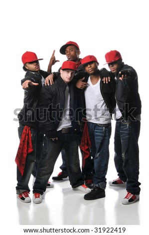 Group of Hiphop dancers posing isolated on a white background - stock photo