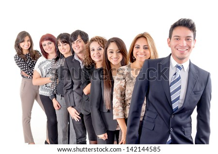 Group of hispanic business people smiling - stock photo