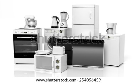 Group of home appliances isolated on white background - stock photo