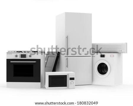 Group of home appliances. Refrigerator, Gas cooker, Microwave, Cooker hood, Air conditioner and Washing machine. - stock photo