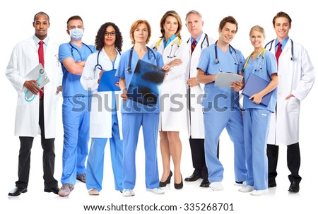 Group of hospital doctors. Health care banner background. - stock photo