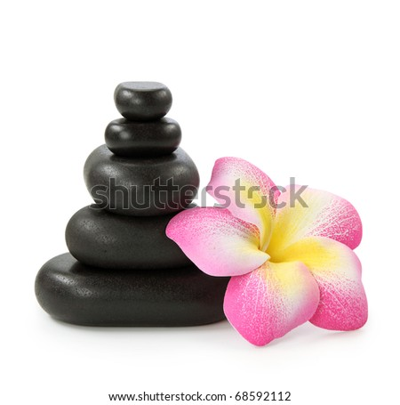 Group of hot stones and flower on white background - stock photo