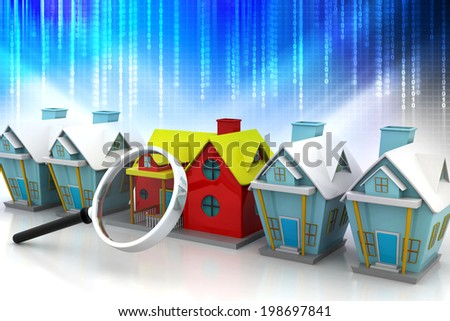 group of houses and magnify glass   - stock photo