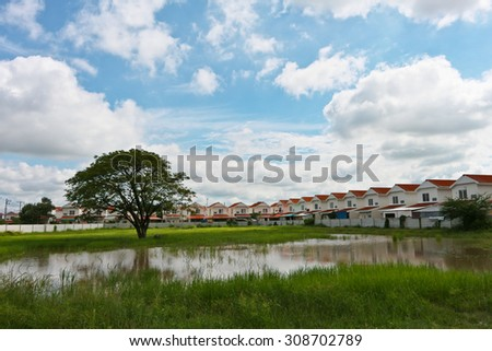 Group of houses in the countryside. - stock photo