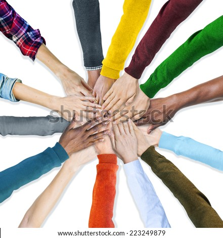 Group of Human Hands Holding Together - stock photo