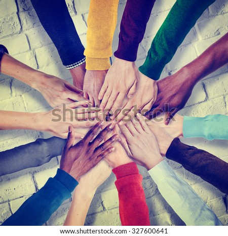 Group of Human Hands Holding Together Concept - stock photo