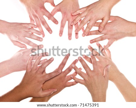 Group of Human Hands isolated on white background - stock photo