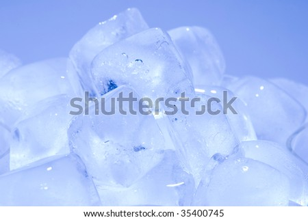 group of ice cube in blue background