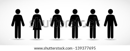 Group of icon people with one woman and many men - stock photo