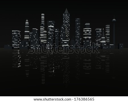 Group of illuminated City skyscrapers at night. 3d render illustration. - stock photo