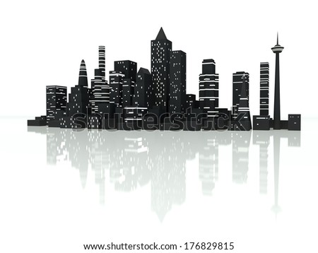 Group of illuminated City skyscrapers. 3d render illustration. - stock photo