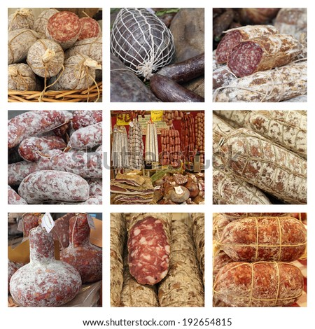 group of images from farmers market with italian sausages - stock photo