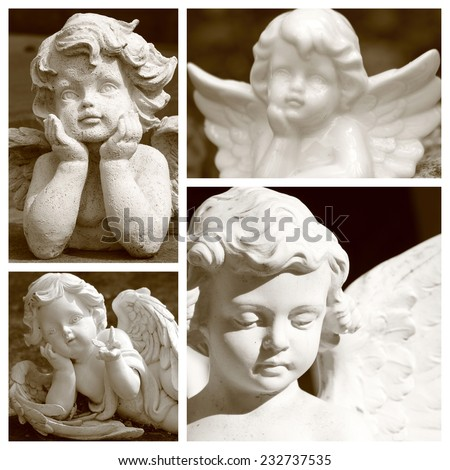 group of images with angelic figurines in sepia color - stock photo