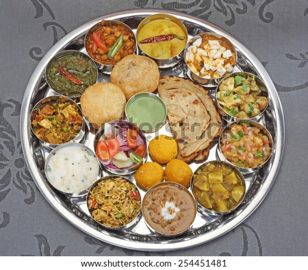Group of Indian Food or North Indian Thali - stock photo