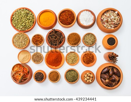Group of indian spices and herbs difference ware on white background with top view and copy space for design foods, vegetable, healthy lifestyle, web template, mock-up or other your content.