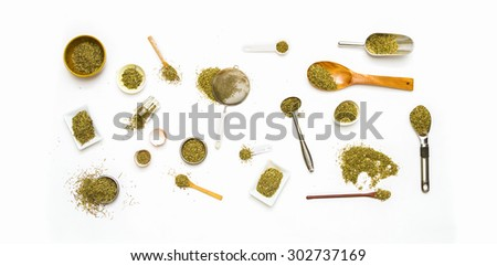 Group of indian spices and herbs on brown background, Top view mix indian spices and herbs difference ware on brown background with copy space for design vegetable, spices, herbs or foods content.