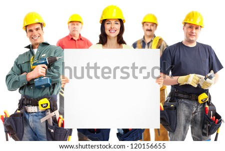 Group of industrial workers. Isolated on white background. - stock photo