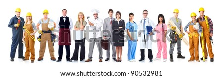 Group of industrial workers. Isolated on white background. Job. Occupation. - stock photo